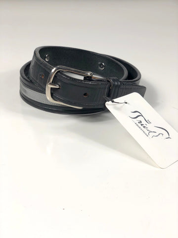 Tory Leather Snaffle Bit Belt with Ribbon Accent in Black - 28