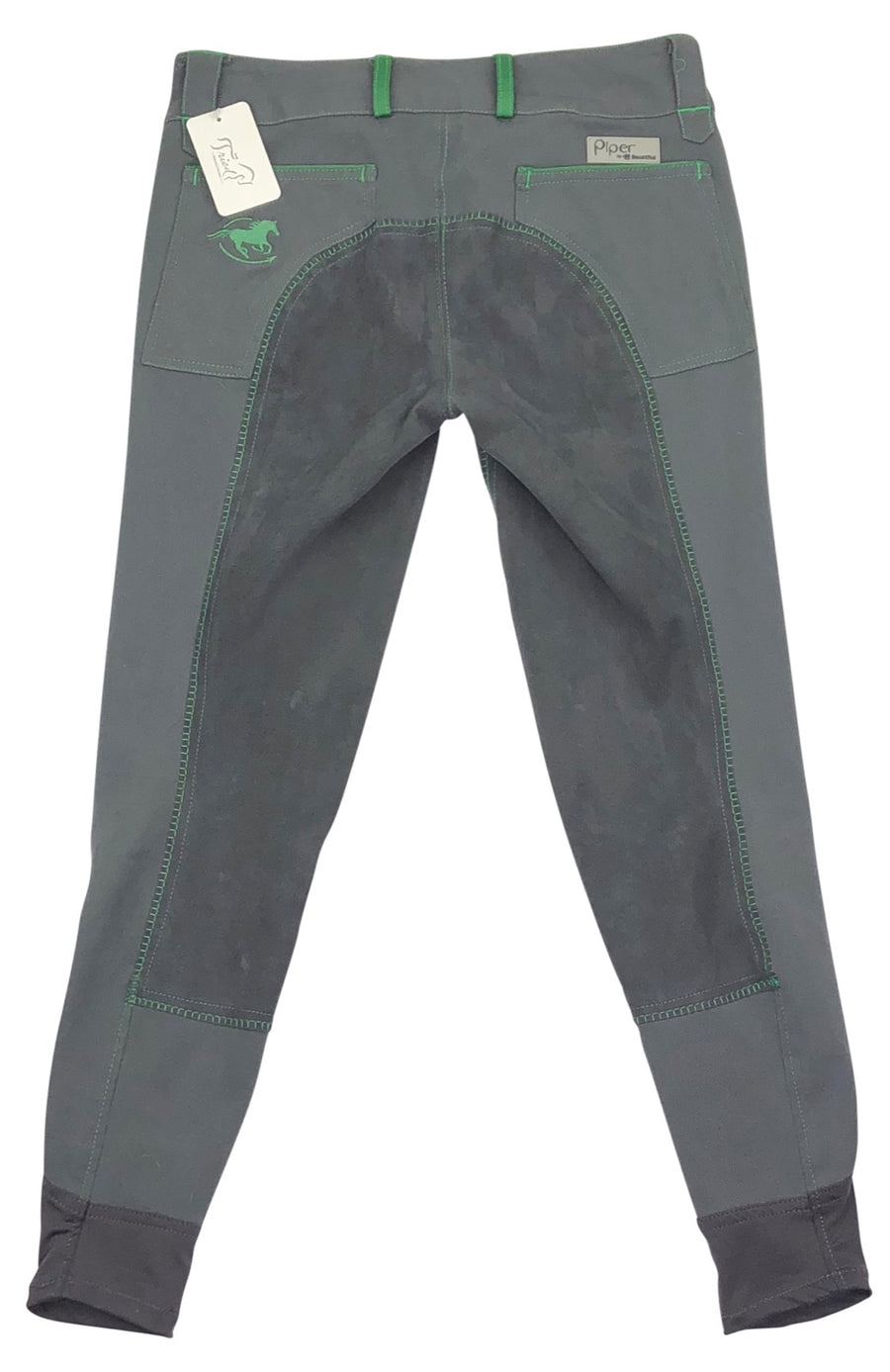Back of SmartPak Piper Full Seat Breeches in Charcoal and Sage