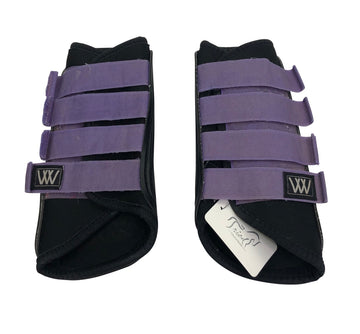 Back view of straps on Woof Wear Club Brushing Front Boot in Black and purple