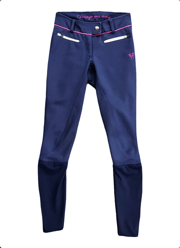 Horse Pilot Jr X-Balance Breeches in Navy/Pink - Children's 12 | M