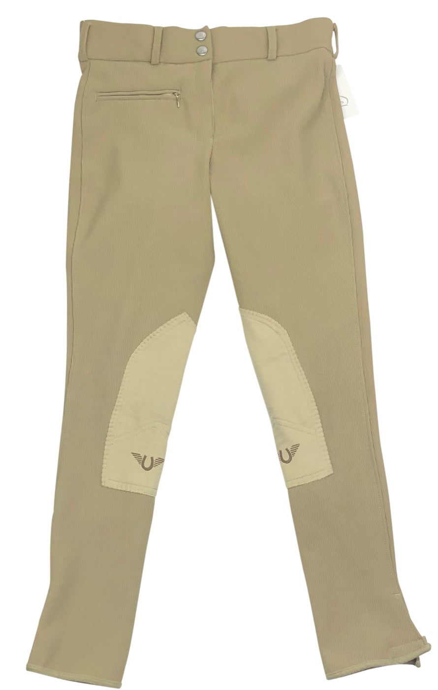 TuffRider Ribb Front Zip Knee Patch Breeches in Tan