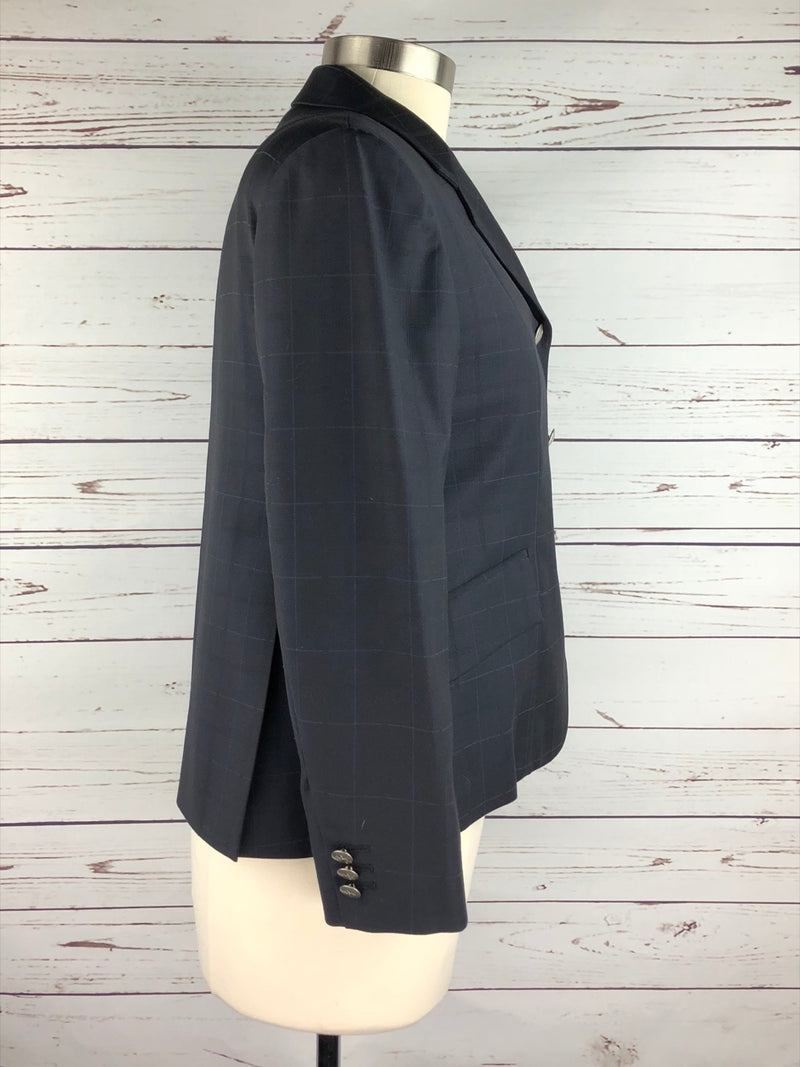 Saltare Hunt Coat in Navy Plaid - Approx. 10S