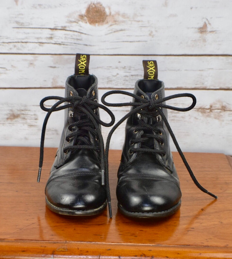 Saxon EquiLeather Lace Paddock Boots in Black - Children's 12