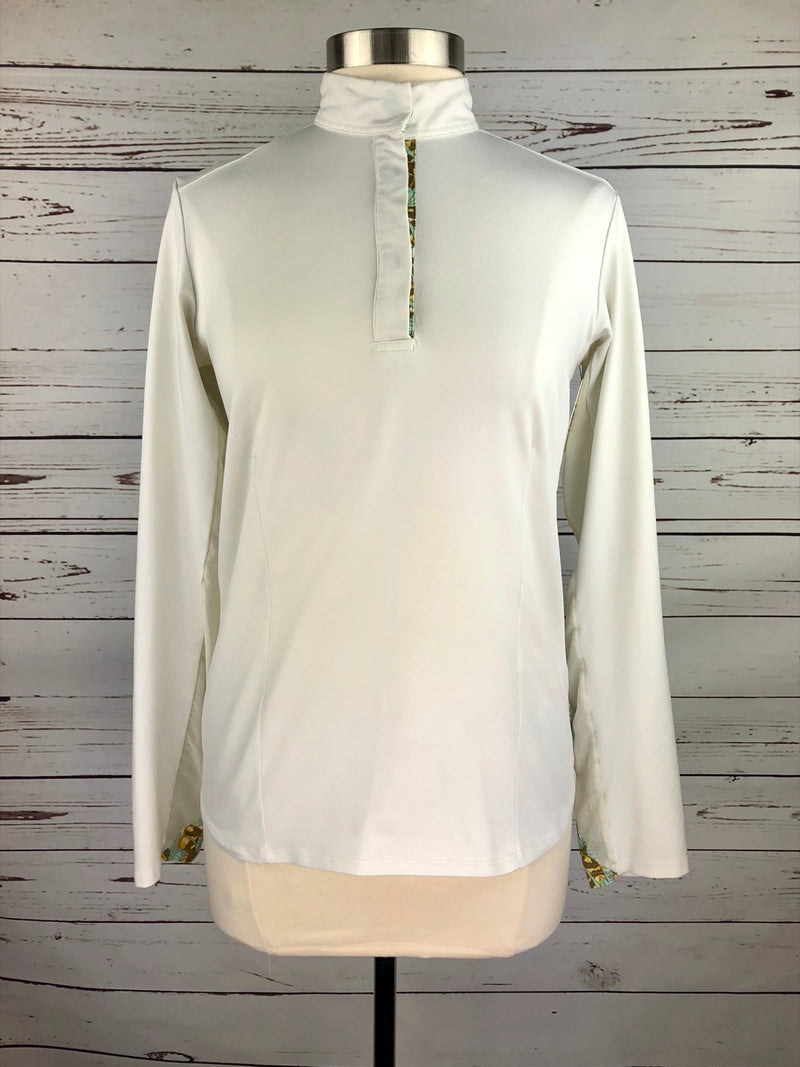 Renard et Cheval Flyaway Polo in White/Butterfly - Women's XL