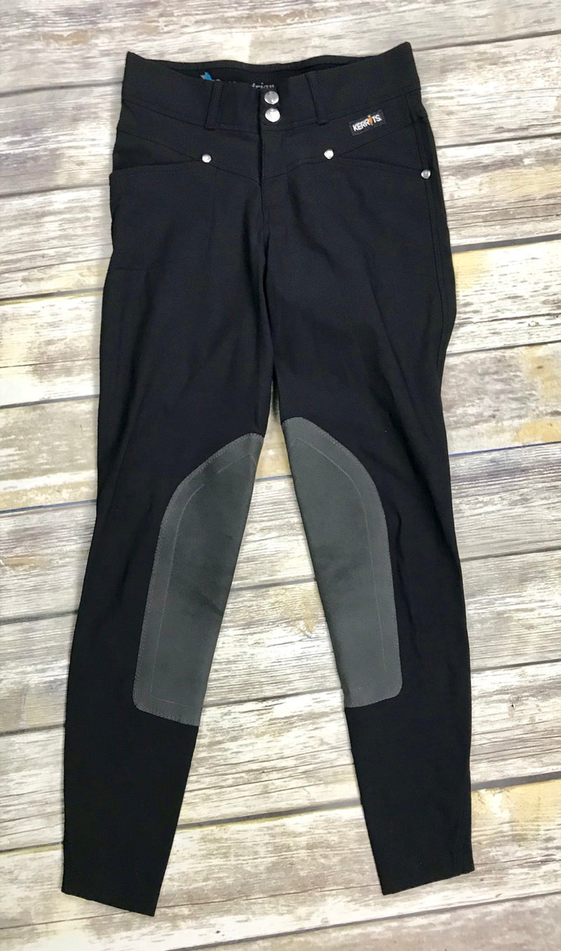 Kerrits Crossover Knee Patch Breeches in Black - Women's XS