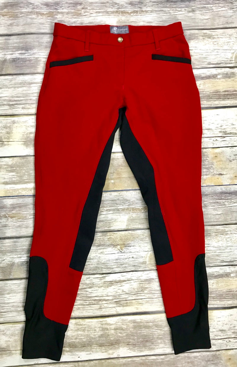 QJ Riding Wear Full Seat Breeches in Red - Women's AU 10/US 8