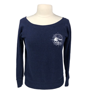 Hunt Club Course Walk Wide Neck Pullover in Navy - Women's S