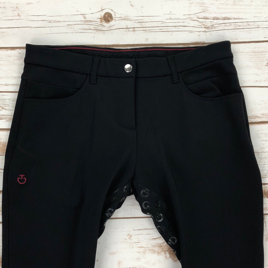 Cavalleria Toscana Full Grip System Breeches in Black -  Front Close Up View
