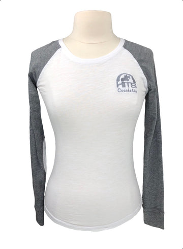 HITS Coachella Raglan Tee in White/Grey - Women's S