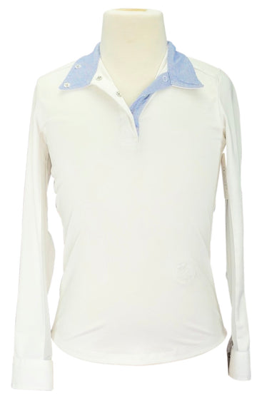 Essex Classics Talent Yarn Show Shirt in White with blue collar