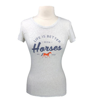 Mare Modern Goods Life is Better with Horses Tee in Oatmeal - Women's M