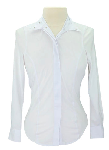 Elation Platinum Madison Wrap Collar Show Shirt in White