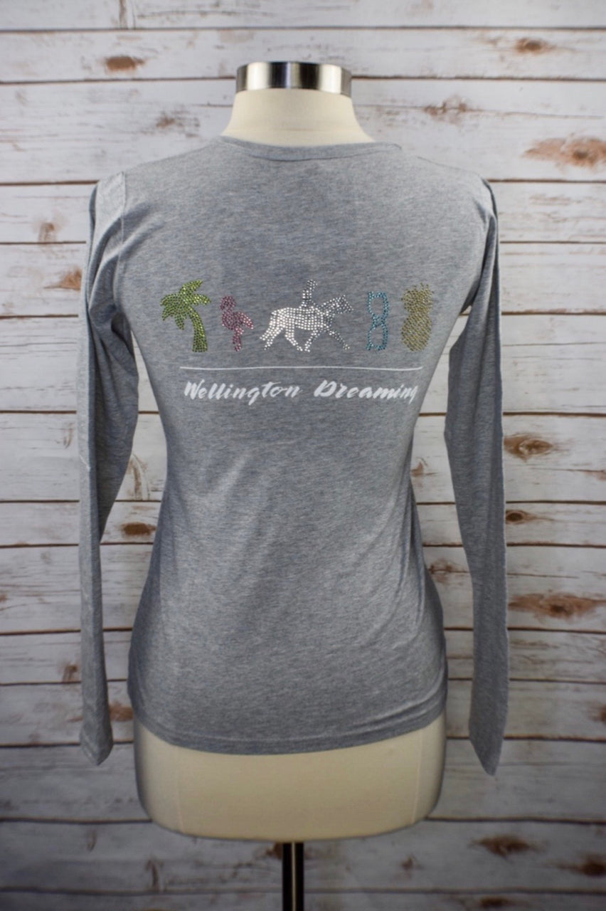 Spiced Equestrian Wellington Dreaming Long Sleeve Tee in Sterling - Women's Medium
