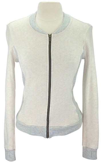 Two Bits Equestrian Herringbone Bomber in Cream