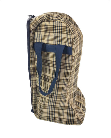 Coronet Boot Bag in Tan/Navy Plaid - One Size