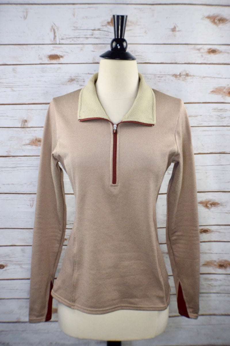 Kerrits 1/4 Zip Fleece Pullover in Brown - Women's Small
