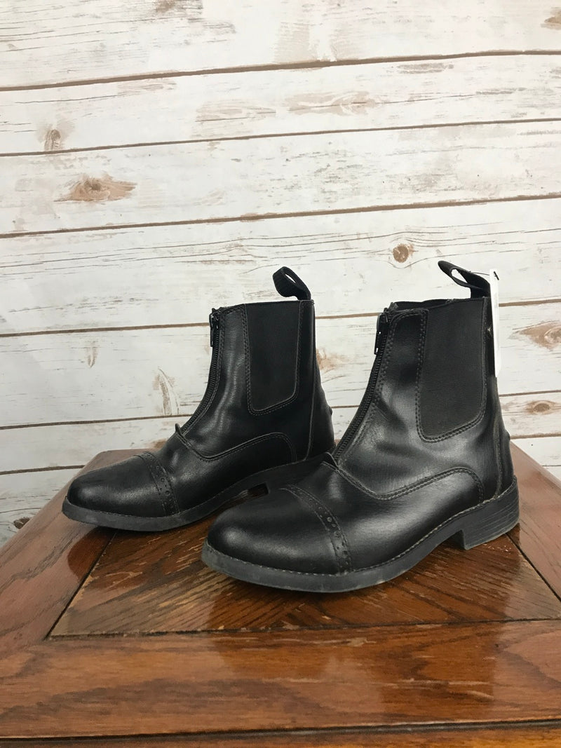 Equistar Synthetic Zip Paddock Boots in Black - Children's 3C