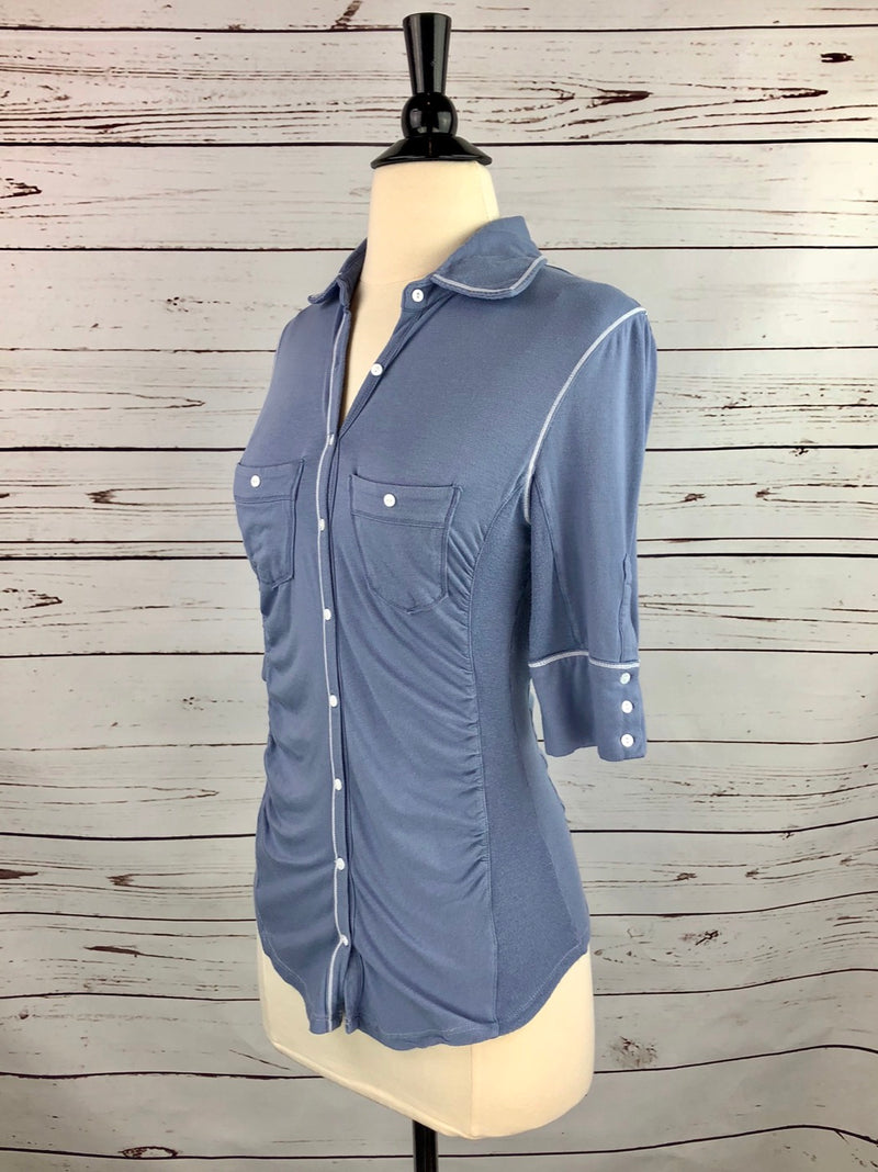 Goode Rider Favorite Knit Shirt in French Blue - Women's XS