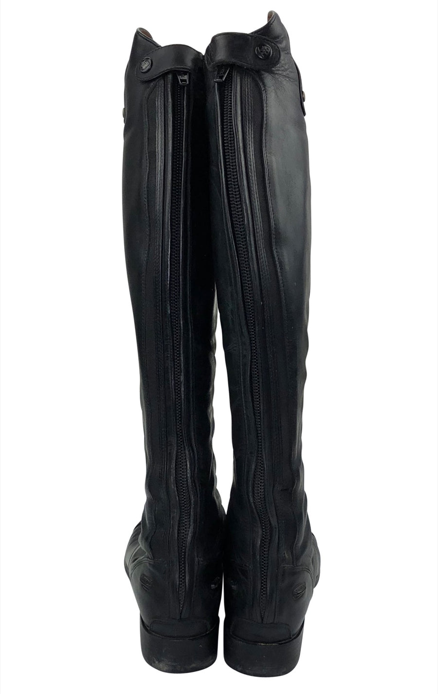 Back of Ariat Heritage Contour Field Zip Tall Riding Boot in Black