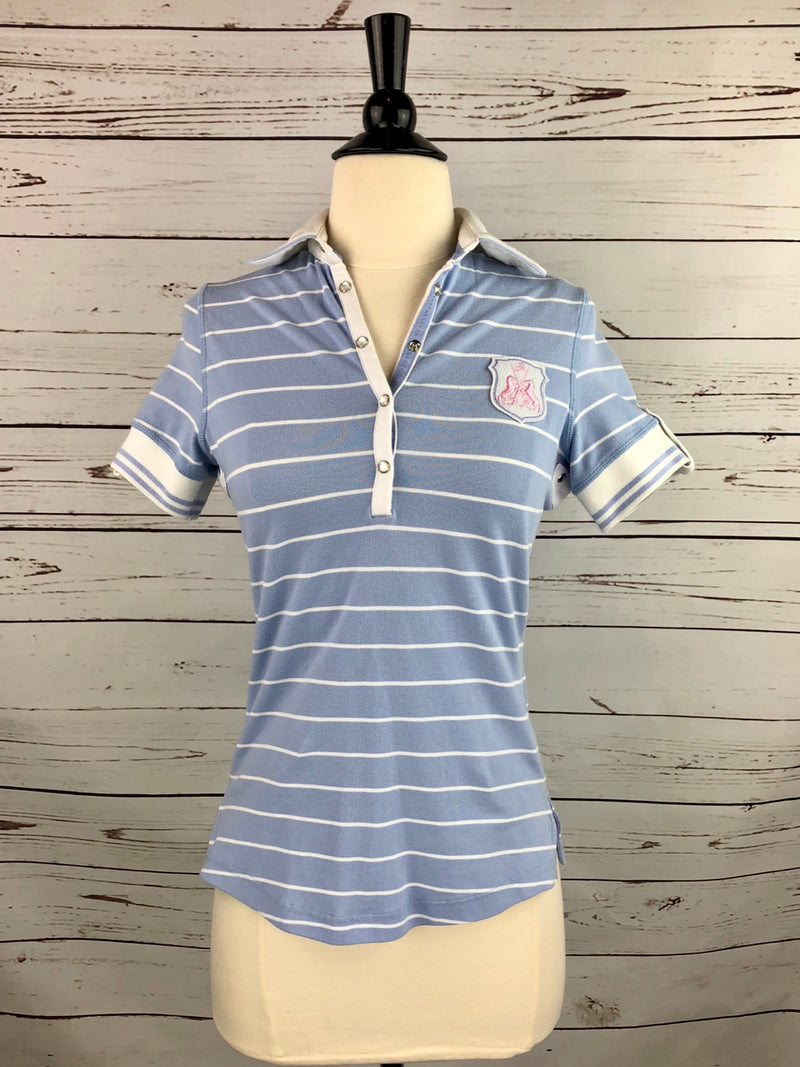Goode Rider Heritage Polo in Light Blue Stripe - Women's XS