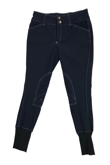 front view of Equine Couture Sportif Natasha Breeches in Navy - Children's 10 | M
