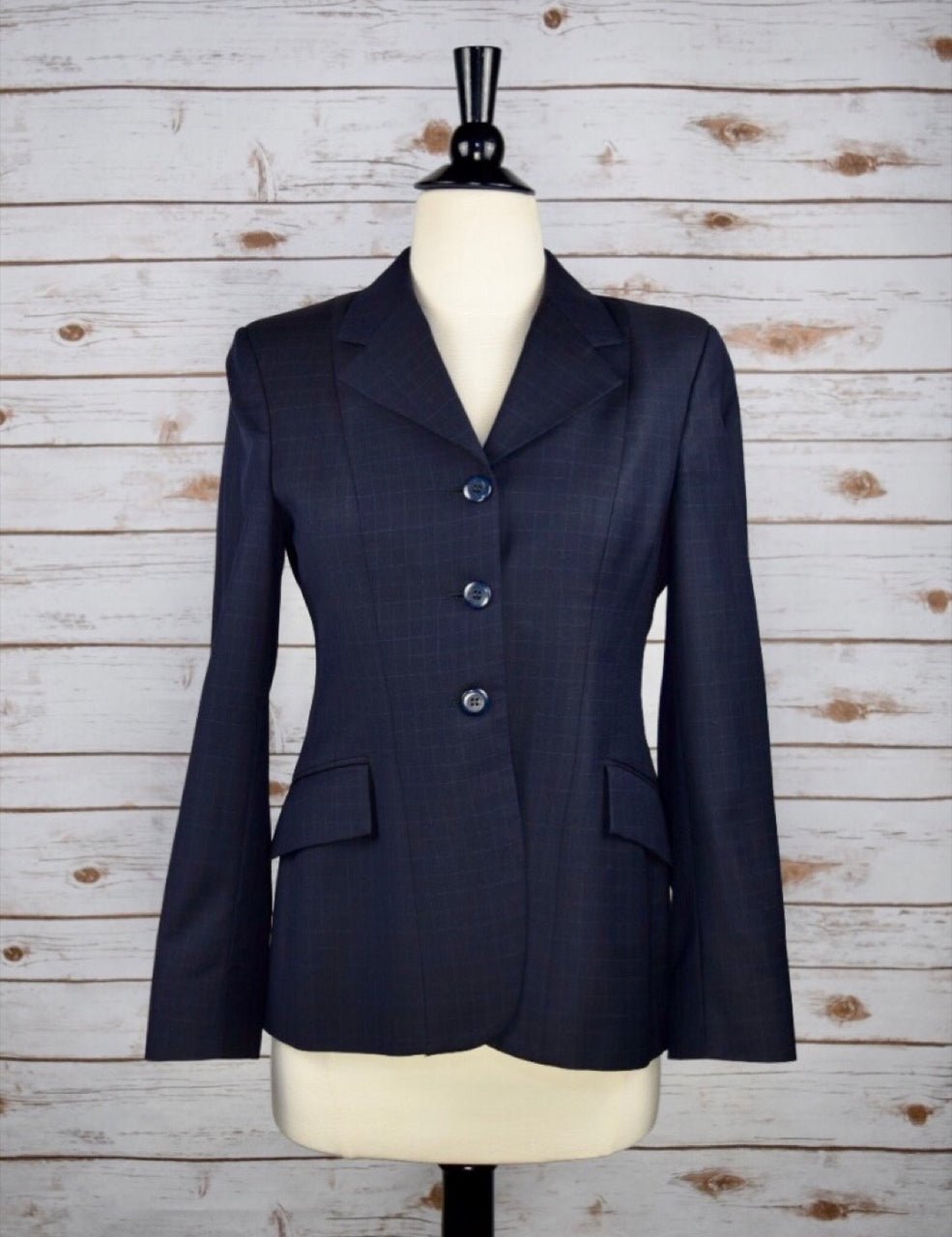 Grand Prix Hunt Coat in Navy Check  - Women's 10S (US 4S)