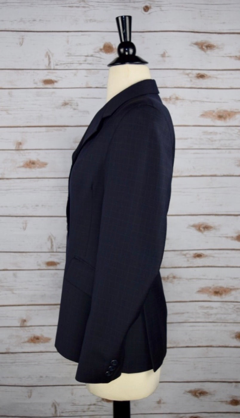 Grand Prix Hunt Coat in Navy Check -Left Side View