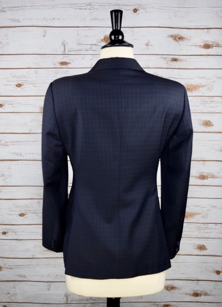 Grand Prix Hunt Coat in Navy Check -Back View