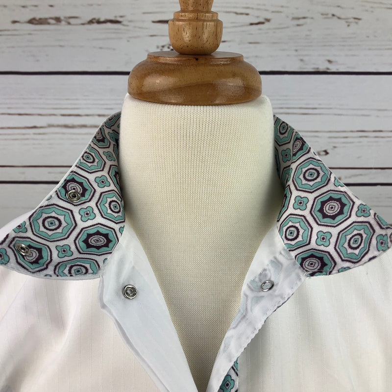 Equine Couture Kelsey Show Shirt in White/Aqua - Children's 10