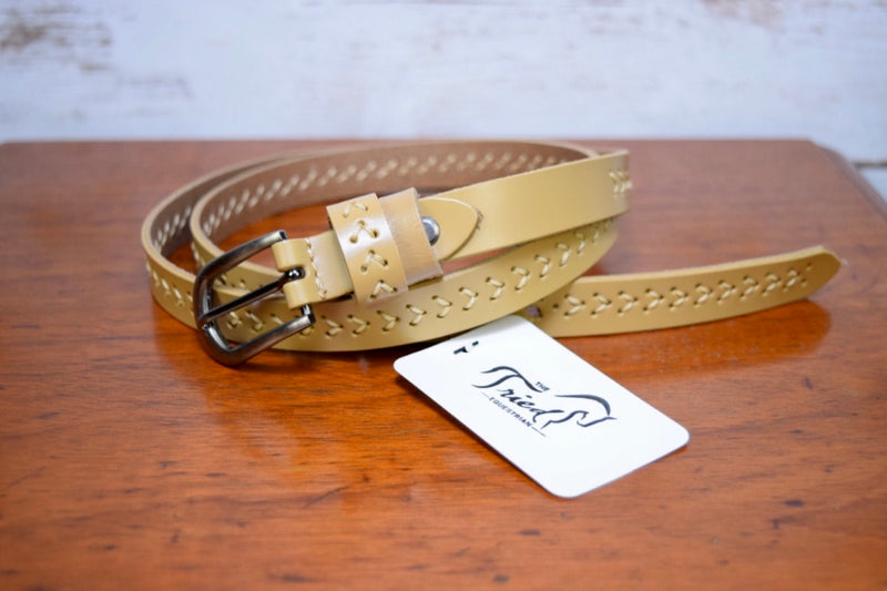 Baseball Stitch Belt in Tan - 36.5""
