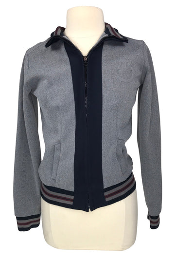 front view of Cavalleria Toscana Sweat Jacket in Grey w/ Black and Burgundy - Women's M
