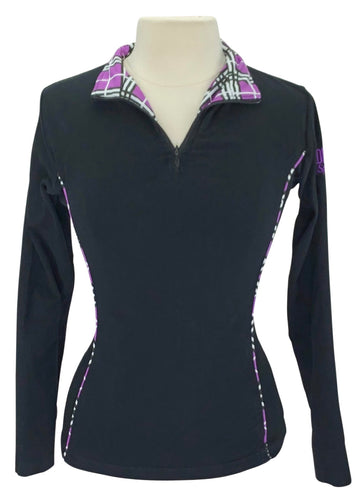 Riding Sport 1/4 Zip Shirt in Black/Purple Plaid