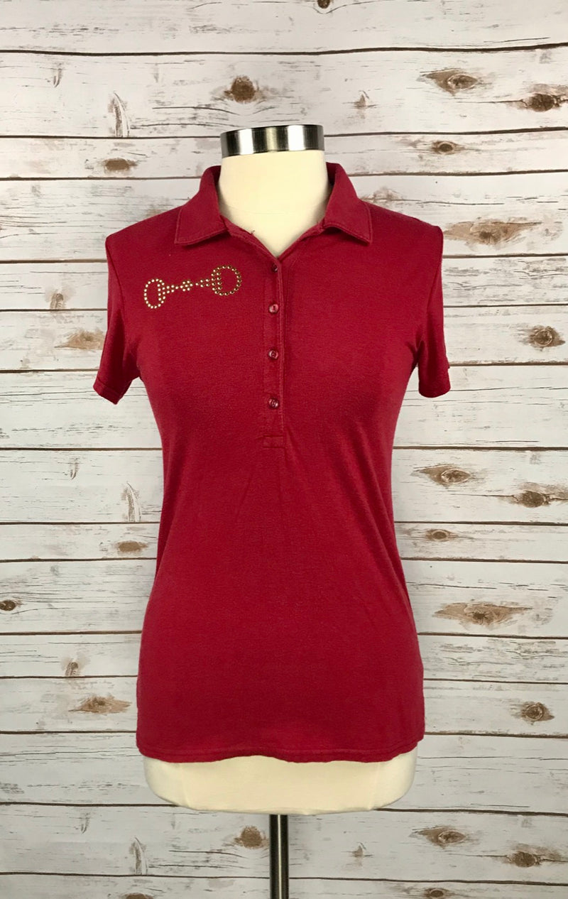 Spiced Equestrian Luxe Snaffle Polo Shirt in Cherry Red - Women's Medium
