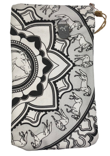 Spiced Equestrian Sunglasses Case in Black & White Mandala