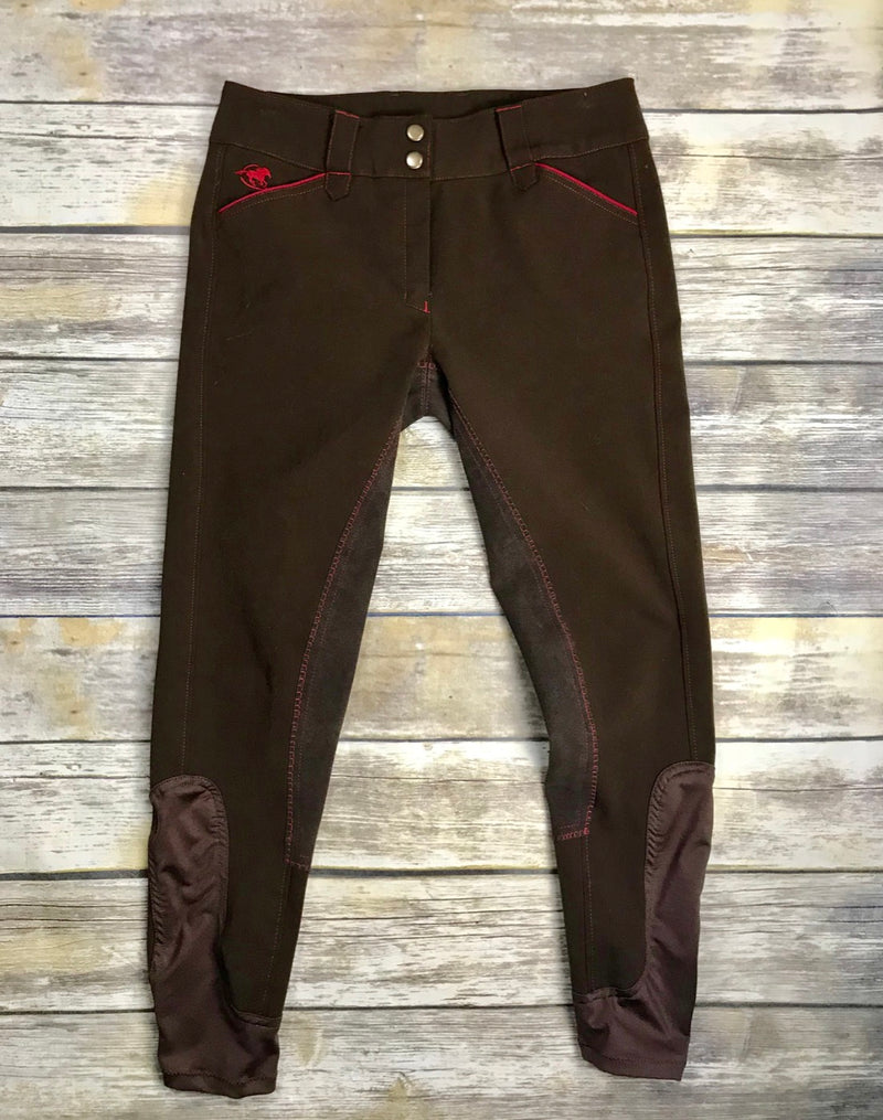 SmartPak Piper Full Seat Breeches in Brown/Cranberry - Women's 28R