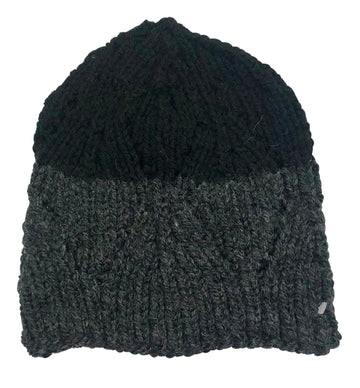 RR Knit Beanie in Black/Charcoal Grey