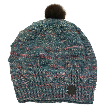 RR Pom Knit Beanie in Blue/Pink Multi