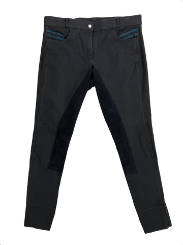 front view of Cavallo Chiara Full Seat Breeches in Charcoal/Dark Teal - Women's 30L | M/L
