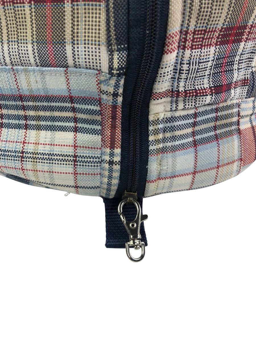 zipper view of Equine Couture Mackenzie Hat Bag in Navy/Burgundy Plaid - One Size