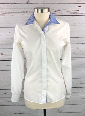 Beacon Hill Wrap Collar Show Shirt in White/Blue Stripe - Front View