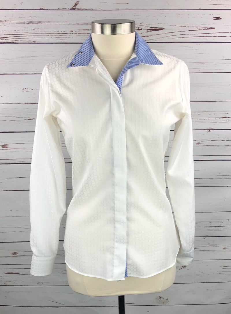 Beacon Hill Wrap Collar Show Shirt in White/Blue Stripe  - Women's 32