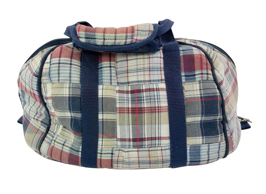 back view of Equine Couture Mackenzie Hat Bag in Navy/Burgundy Plaid - One Size