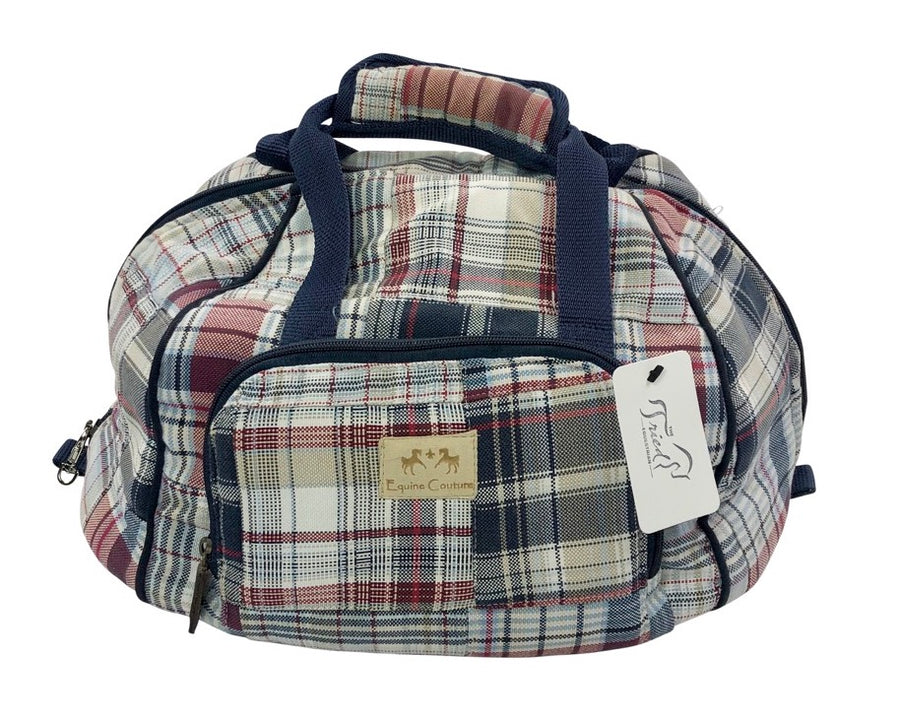 front view of Equine Couture Mackenzie Hat Bag in Navy/Burgundy Plaid - One Size