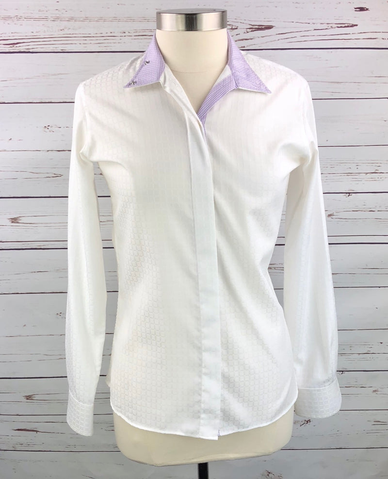 Beacon Hill Wrap Collar Show Shirt in White/Purple - Women's 32