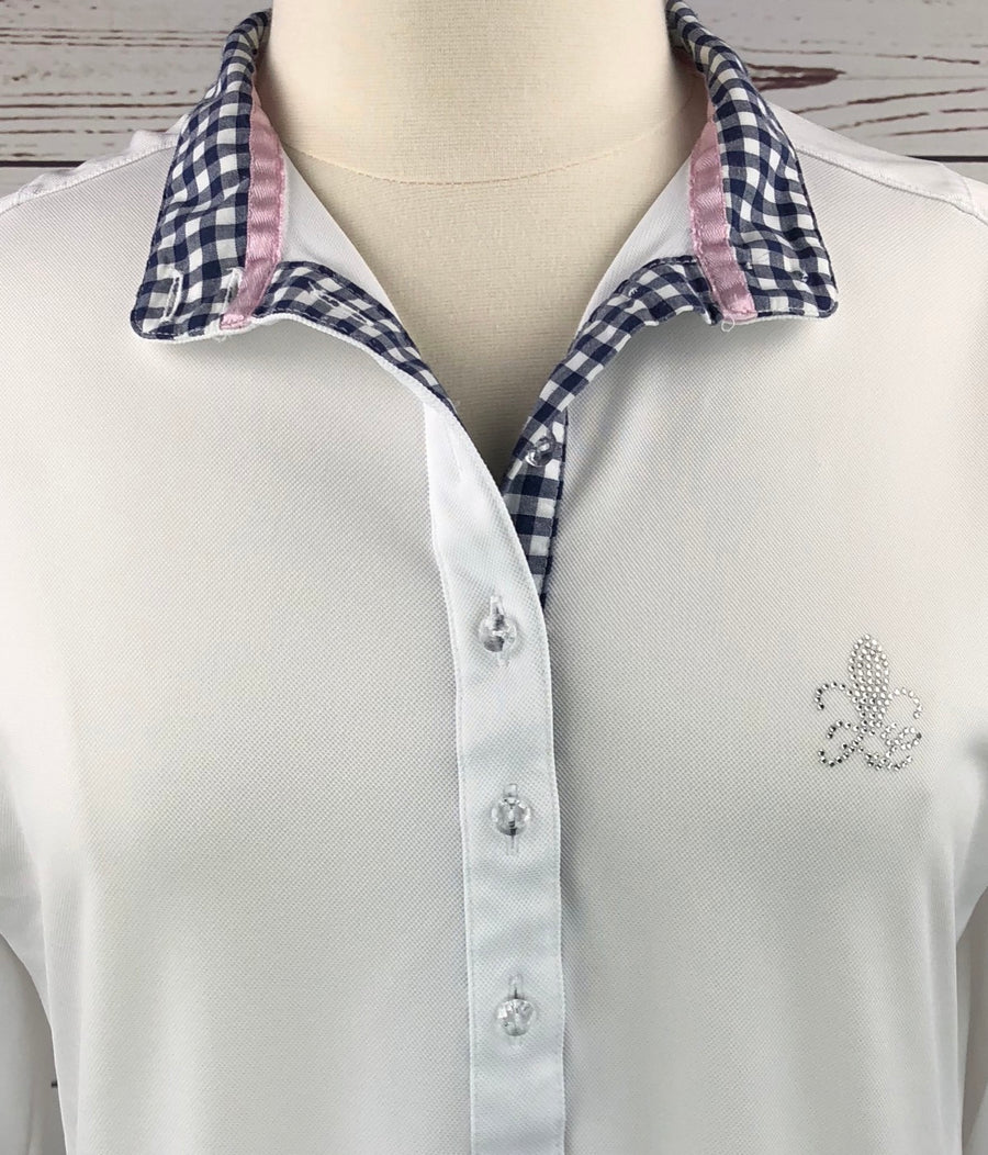 Fior da Liso Ronia Show Shirt in White/ Navy Gingham -  Collar View