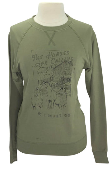 Spiced Equestrian The Horses Are Calling Sweatshirt in Olive