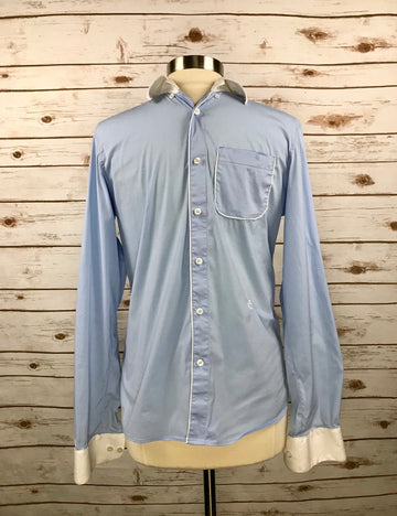 Cavalleria Toscana Technical Pocket Shirt in Blue w/White Piping - Front View