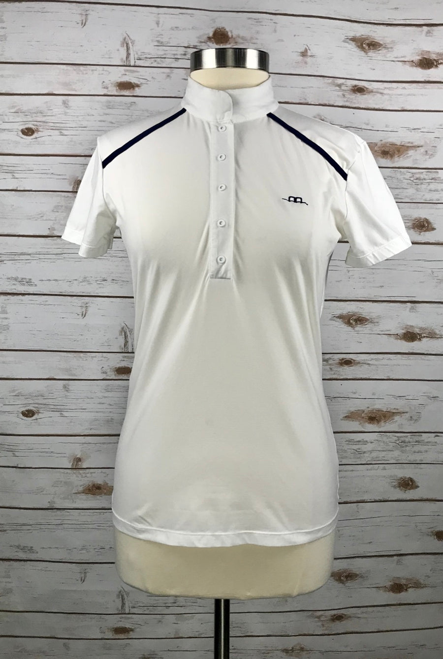 Alessandro Albanese Rio Competition Polo in White/Navy in Women's XL - front view