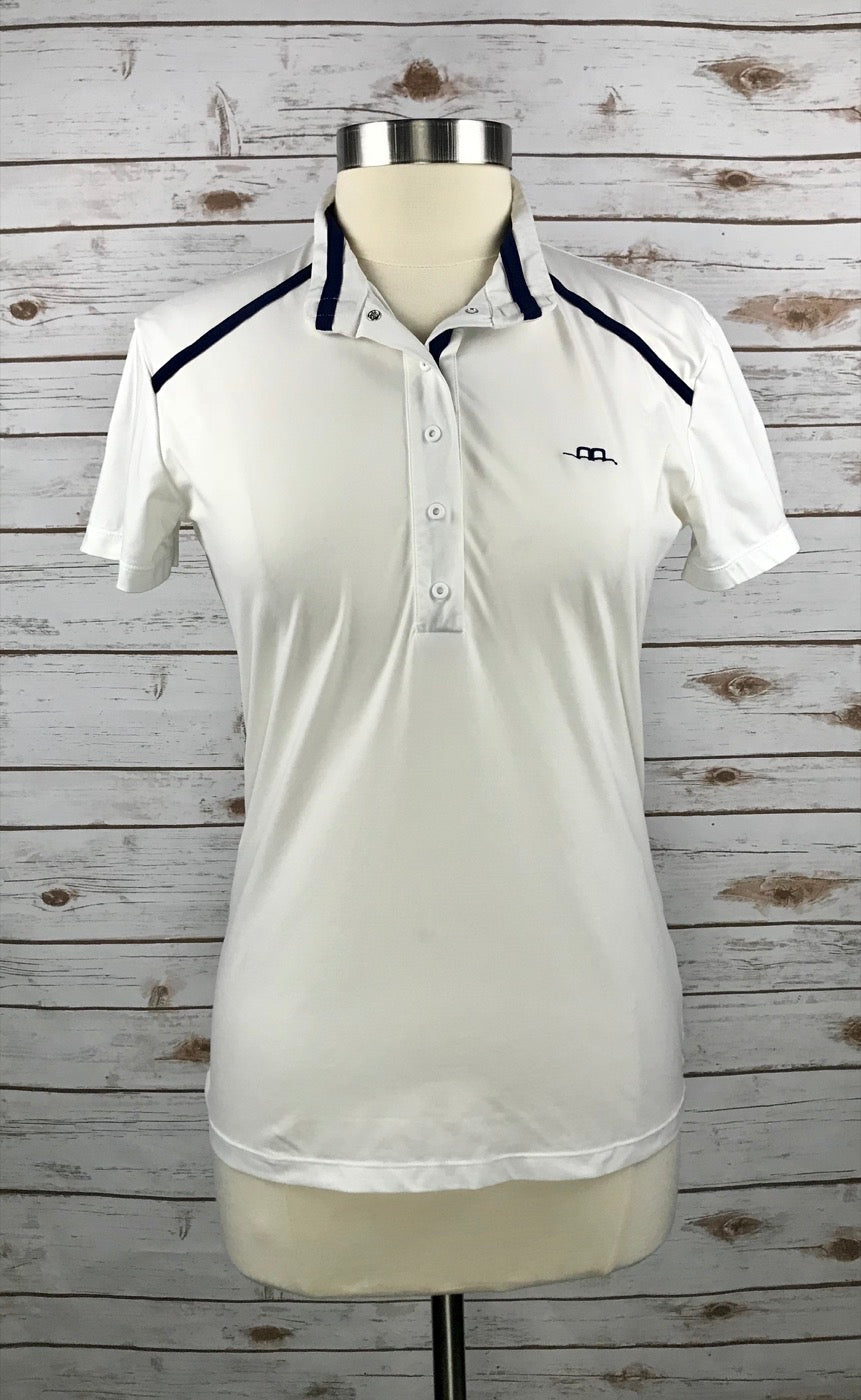 Alessandro Albanese Rio Competition Polo in White/Navy in Women's XL - front view unbuttoned