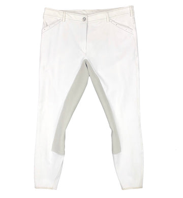 Cavallo Curly Full Seat Breeches in White - Women's US 32L | L